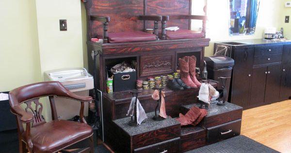 Man Cave Barber London : The shop s shoe shine stand barbershop
