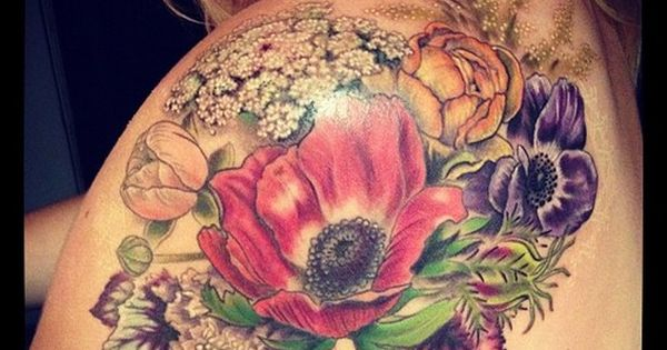 garden tattoo, flowers, flower tattoo