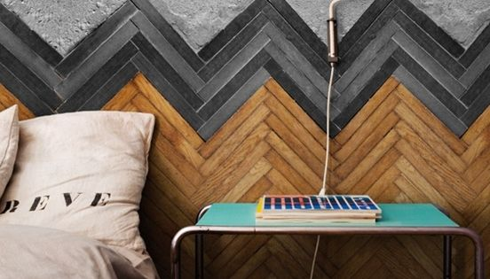 Chevron wall pattern made of wood strips. This could be a good