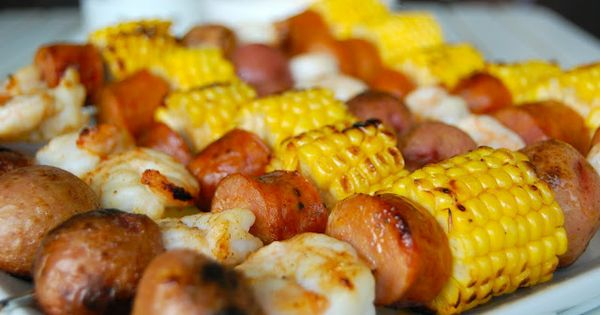 An easy, summer dinner. Shrimp, sausage, corn and potato kebabs! Low country