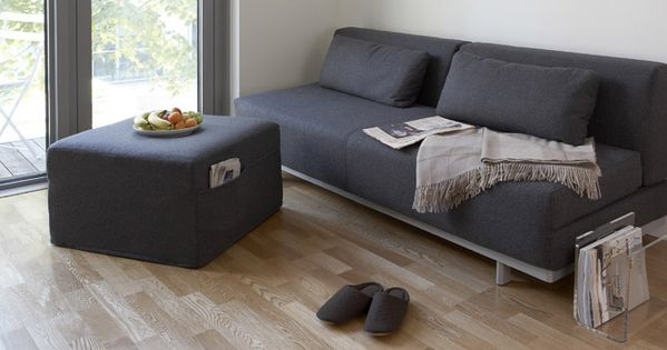clean muji living couch ottoman acrylic magazine rack stufflust home pinterest muji. Black Bedroom Furniture Sets. Home Design Ideas