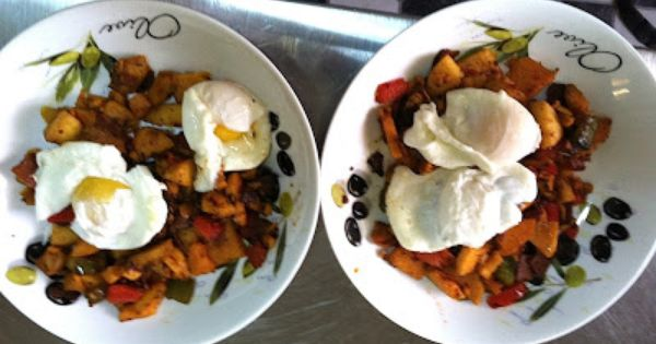 Roasted Garlic Sweet Potatoes With A Poached Egg Recipe — Dishmaps