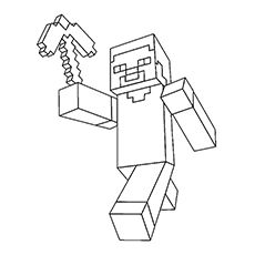 Minecraft Steve With Pickaxe In Hand Coloring Pages Minecraft Coloring Pages Coloring Pages Minecraft Printables