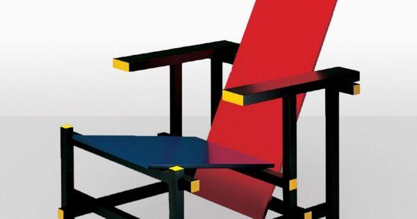 gerrit rietveld chaise bleue et rouge 1918 mobilier pinterest fauteuils de stijl et. Black Bedroom Furniture Sets. Home Design Ideas