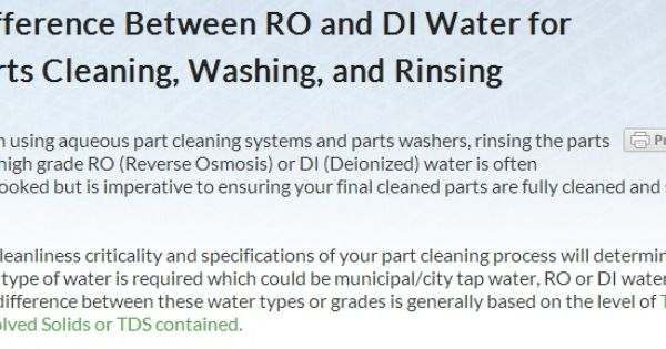 Difference Between Ro And Di Water For Parts Cleaning Washing