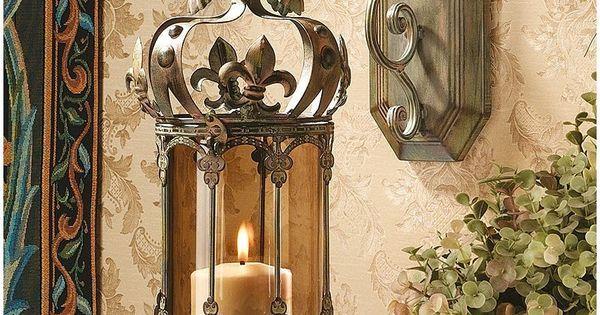 Garden decor crafts pinterest - Fleur De Lis Hanging Metal Scrollwork Pendant Lantern