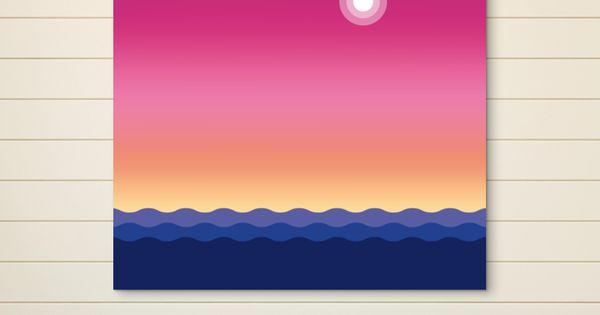 Luna y atardecer cuadro por oscar estmont pattern for Hogar textil decoracion