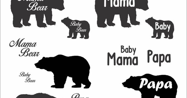 Cute Papa Mama And Baby Bear File Download Svg Eps Png