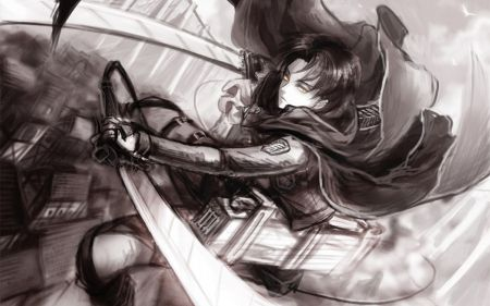 Levi Ackerman Humanity S Greatest Soldier Black Hair Attack On Titan Wallpaper Swords Survey Corps Anime L Levi Ackerman Black And White Pictures Levi