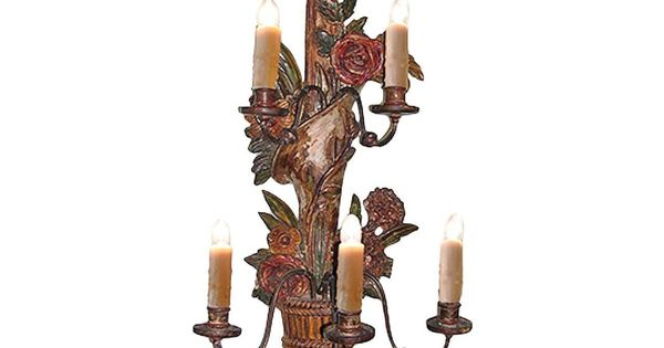 French 19th Century Painted Gesso Carved Single Sconce With Five