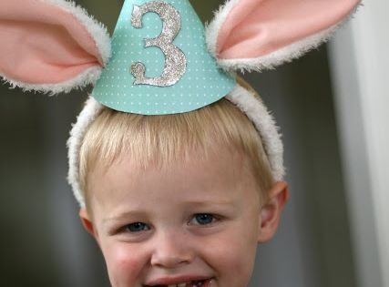 bunny birthday use bunny ears for bday hats- add party hat with