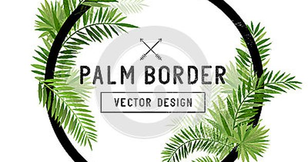 Tropical Palm Leaf Border Vector Leaf Border Palm Summer Trees