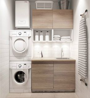 Entwicklung Einer Kleinen Modernen Waschkuche Mit Waschmaschine Und Trockner Www Badezimmer Wasche Waschkuche Aufraumen Und Kleine Waschkuche