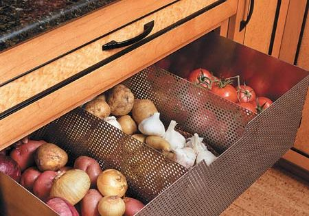 #kitchen storage Ventilated drawer to store non-refrigerated foods (tomatoes, potatoes, garlic, onions)
