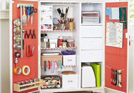 Craft Storage Idea - pretty armoire decked out for craft supply storage.