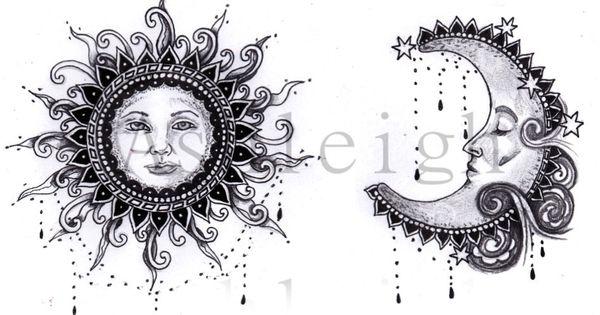 Bohemian Sun and Moon tattoo