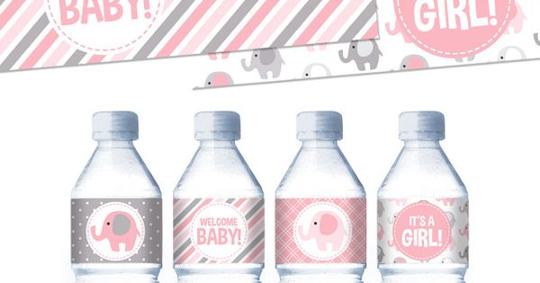 Pink Elephants Printable Water Bottle Labels For Baby