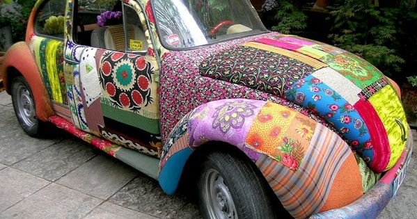 A quilted VW Beetle! A funky old beetle is my dream car.