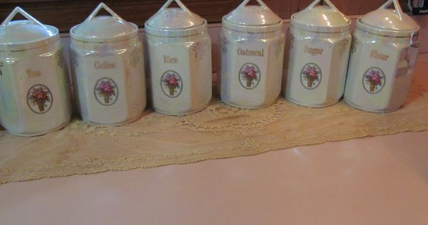 6 Pearl Lusterware German Canister Set Antique Canister