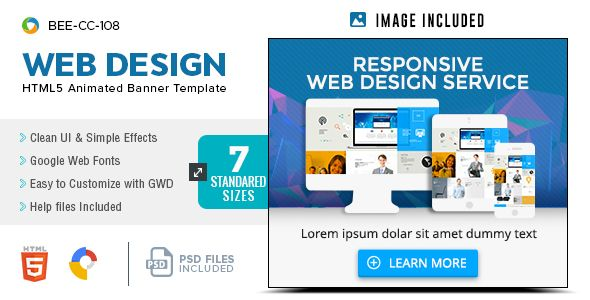 Html5 Web Design Service Banners Gwd 7 Sizes Bee Cc 108 Web Design Web Design Services Service Design