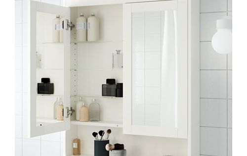 Hemnes mirror cabinet with 2 doors white mirror for 8x6 bathroom ideas