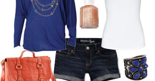 My Version: Medium Blue Off Shoulder Long Sleeve Shirt, White Shorts, White