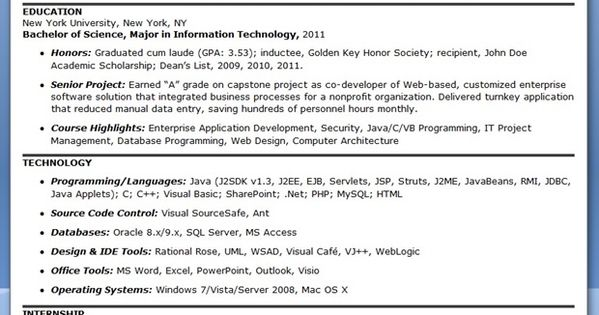 Sample Computer Programmer Resume (Entry-Level) Programming - j2ee web development resume
