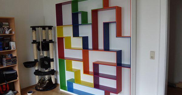 Tetris shelving a geeky display and storage solution for Tetris bookshelf