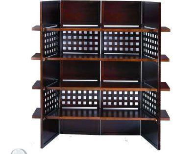 4.9 Ft Walnut (Brown) 4-Panel Room Divider