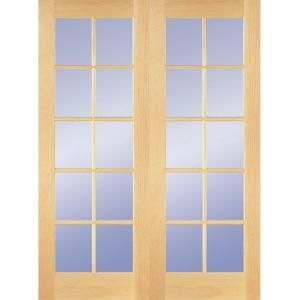 Builder S Choice 48 In Wood Clear Pine 10 Lite Prehung French Double Door Hdcp1510 Prehung Interior French Doors French Doors Interior Discount Interior Doors