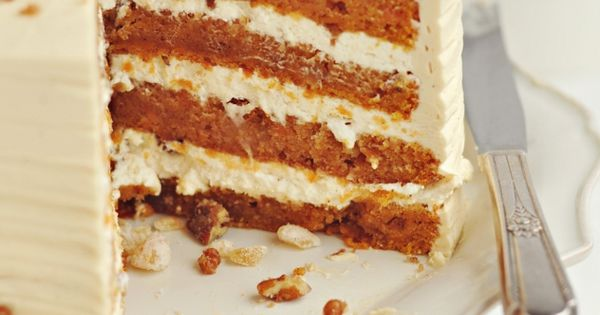 4-Layer Sweet Potato & Ginger Layer Cake with Toasted Marshmallow Filling, Candied