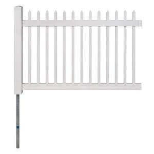 Wambam Fence No Dig Permanent 4 Ft X 6 Ft Nantucket Vinyl Picket Fence Panel With Post And Anchor Kit Bl19101 The Home Depot Vinyl Picket Fence White Vinyl Fence Vinyl Fence