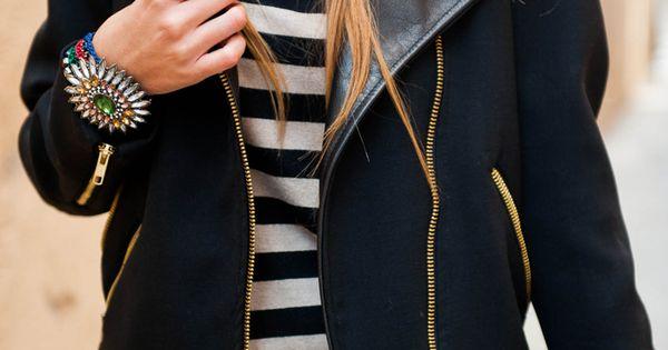 fall. Black leather jacket white striped tee maroon burgundy pants skinny skinnies