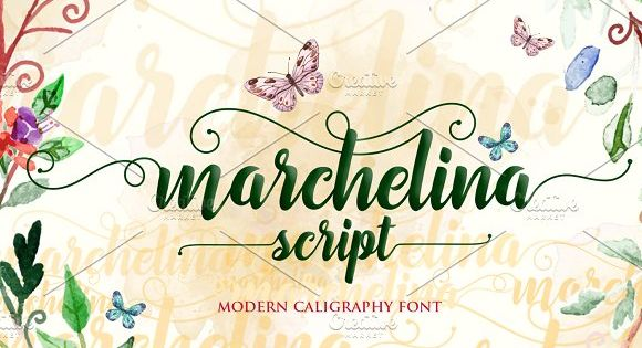 Marchelina Script Font, a handmade font awesome, new fresh & modern script with a calligraphy style