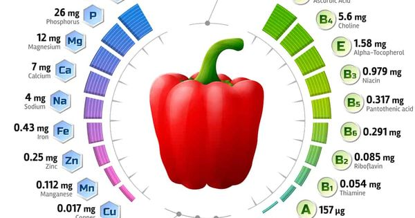 Health Benefits Of Bell Peppers Vitamins Health And Nutrition Vitamins And Minerals