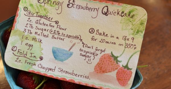 Springy strawberry quickcake fast and good perfect for breakfast
