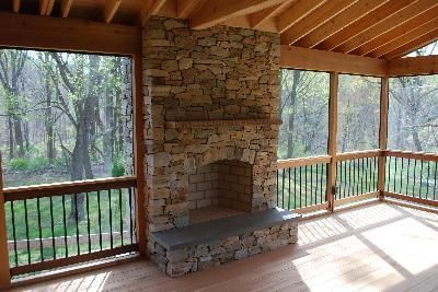 Screen Porch With Outdoor Fireplace