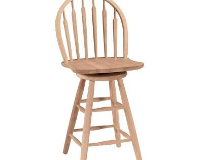 International Concepts 24 In Unfinished Wood Swivel Bar Stool