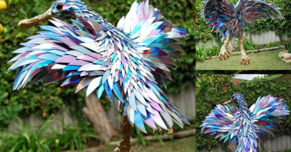 Baby spoonbill by SeanAvery.deviantart.com (made from old CDs)
