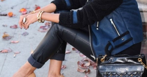 Blue and black. leather. LAdies street style, women's fashion