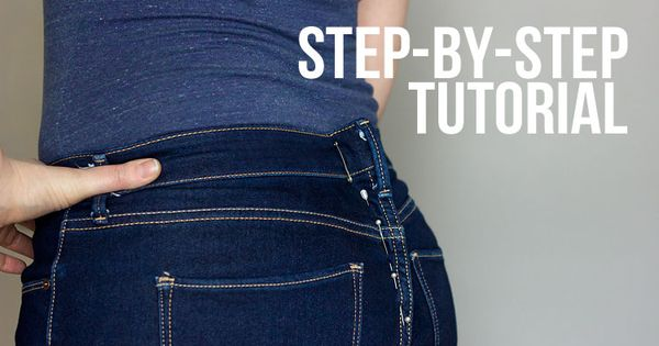 How to Take in a Jeans Waist by Glitter+Wit