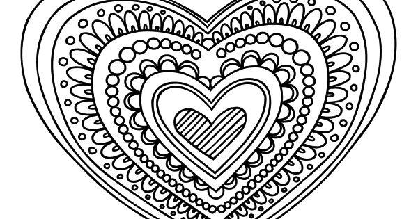Mandalas Para Colorear De Bts: Dibujo De Mandala Corazón Para Colorear