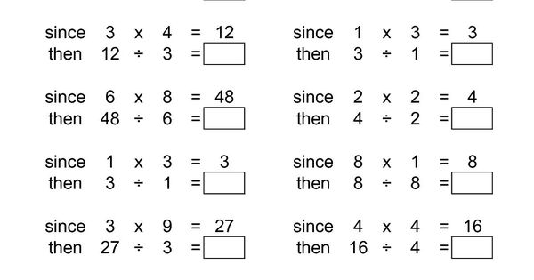 the inverse relationships multiplication and division range 1 to 9 a math worksheet from. Black Bedroom Furniture Sets. Home Design Ideas