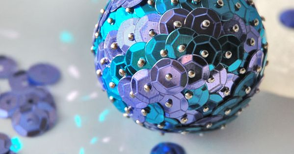 diy christmas tree ornaments blue sequins pins foam ball. Would use red