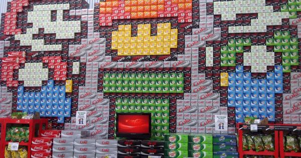AWESOME pixel art soda can store displays. Somebody w/ too much time