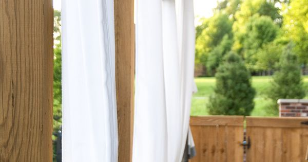 Hanging Outdoor Curtains The Polkadot Chair See More Ideas About Outdoor Drapes And Hgtv