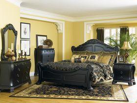 Antique Black Wood Elegant Bedroom Furniture Set   Yellow ...