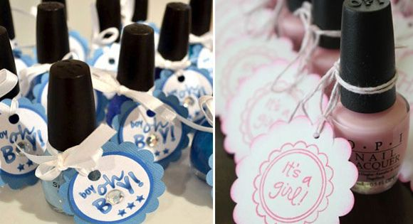 Baby Shower Nail Polish Favors... Wish I thought of this. Party favor