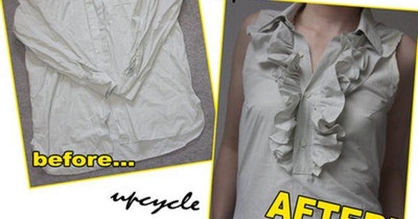 Recycled men's shirt to ruffle shirt