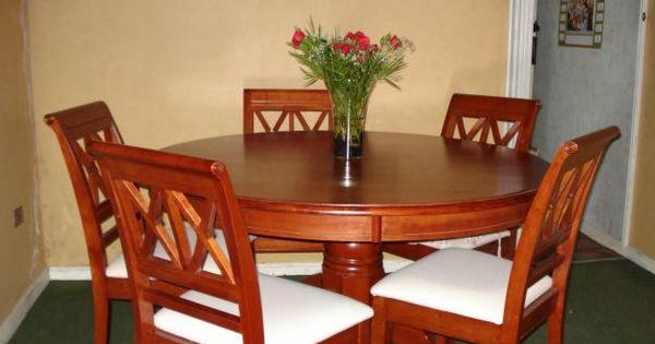 Comedor redondo de 6 sillas de madera muebles for Sillas para comedor redondo
